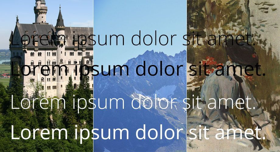 Text overlay on three different images