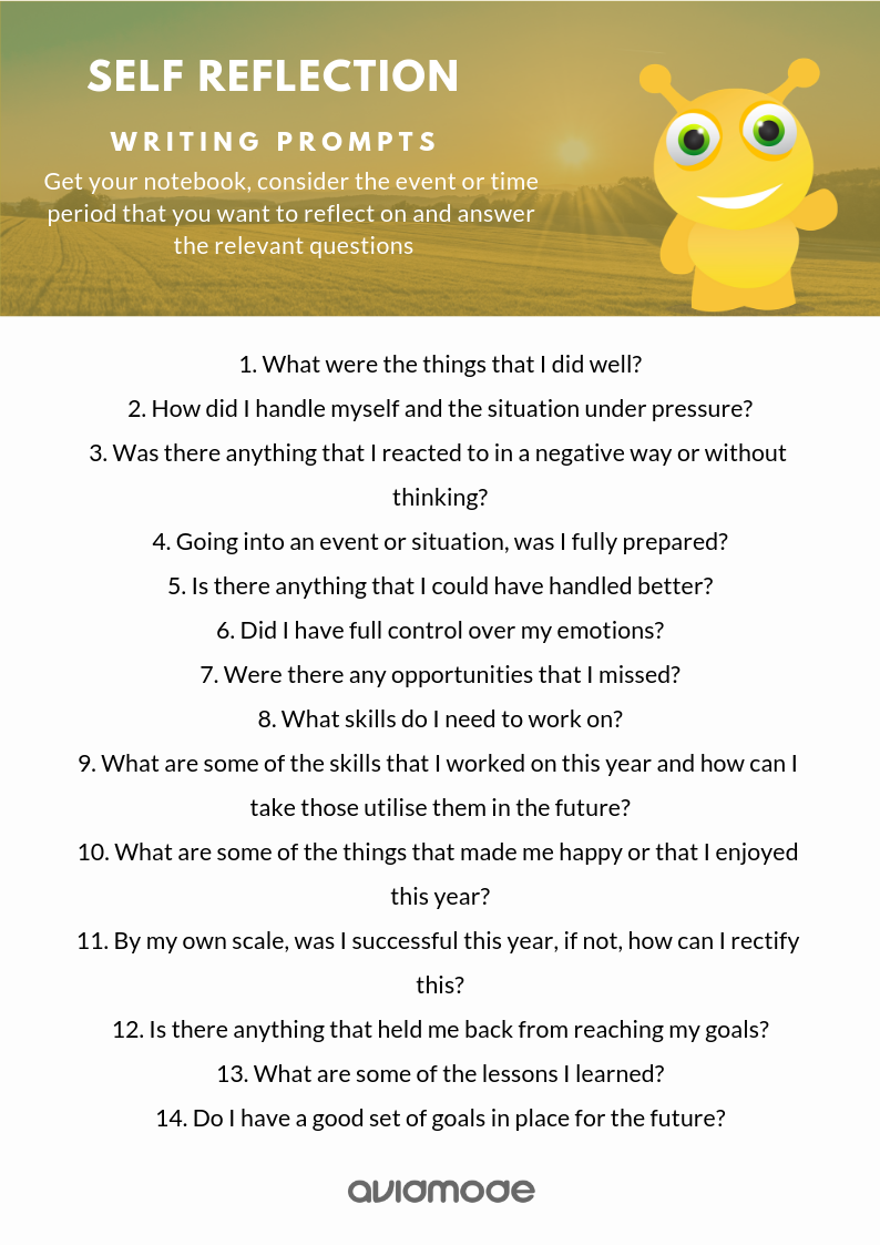 List of some writing prompts that can be used for self reflection