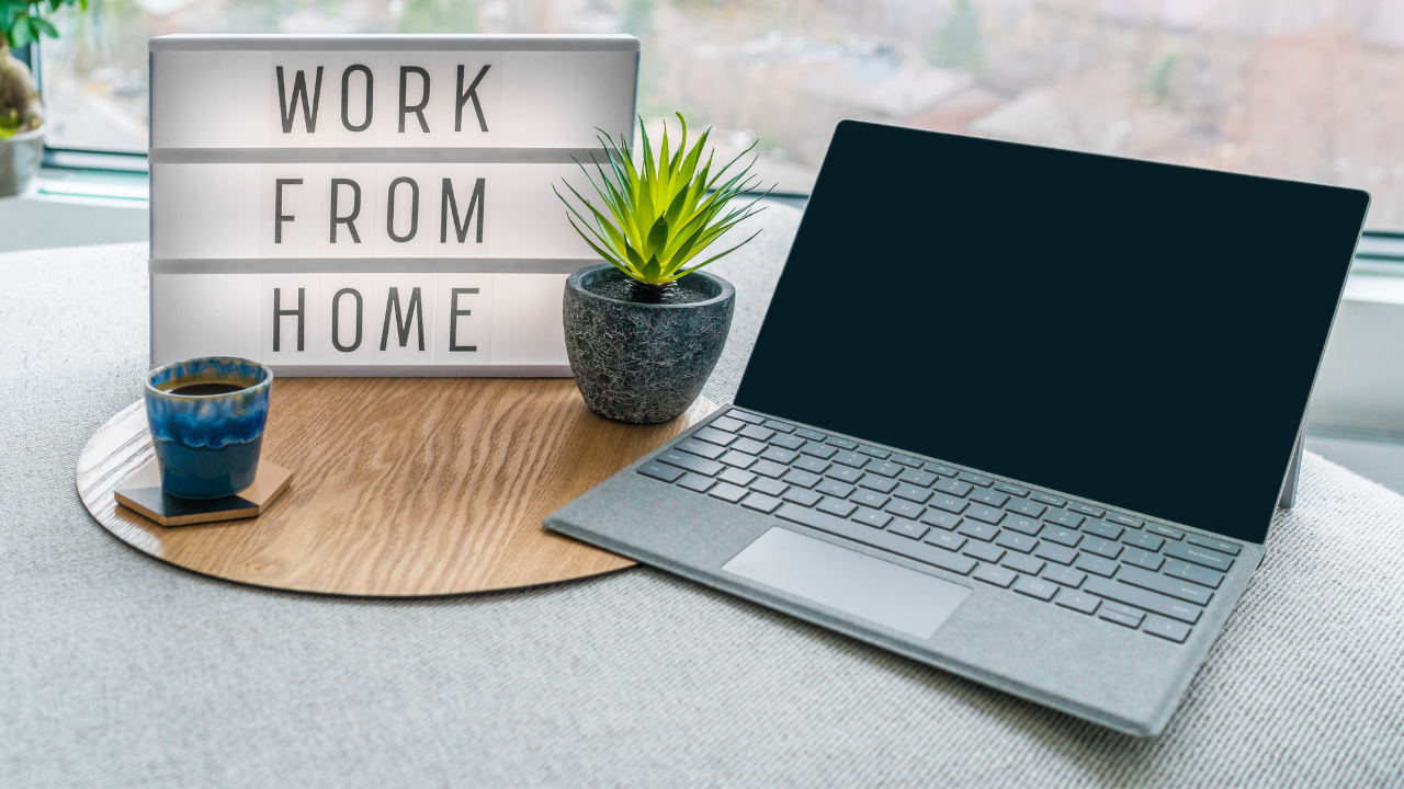 Laptop on a table, working from home.
